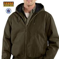 Mens Canvas Quilted Hooded Bomber Windproof Jacket Workwear Factory